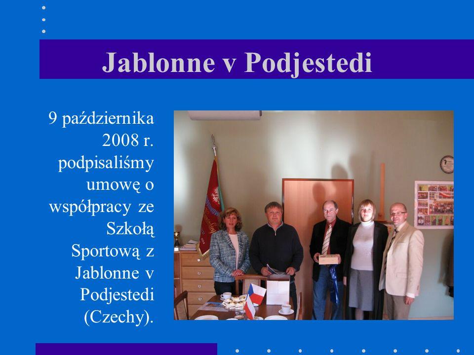 Jablonne v Podjestedi 9 października 2008 r. podpisaliśmy umowę o współpracy ze Szkołą Sportową z Jablonne v Podjestedi (Czechy).