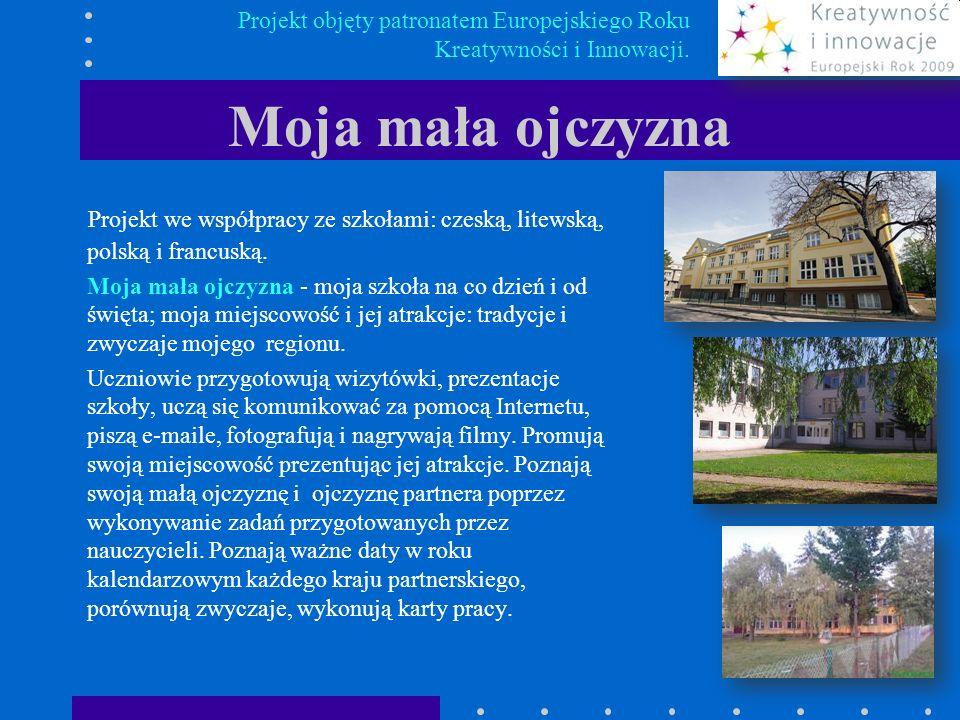 Moja mała ojczyzna Projekt we współpracy ze szkołami: czeską, litewską, polską i francuską. Moja mała ojczyzna - moja szkoła na co dzień i od święta;