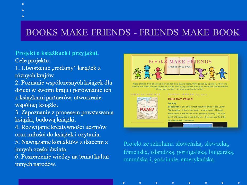 BOOKS MAKE FRIENDS - FRIENDS MAKE BOOK Projekt ze szkołami: słoweńską, słowacką, francuską, islandzką, portugalską, bułgarską, rumuńską i, gościnnie, amerykańską.