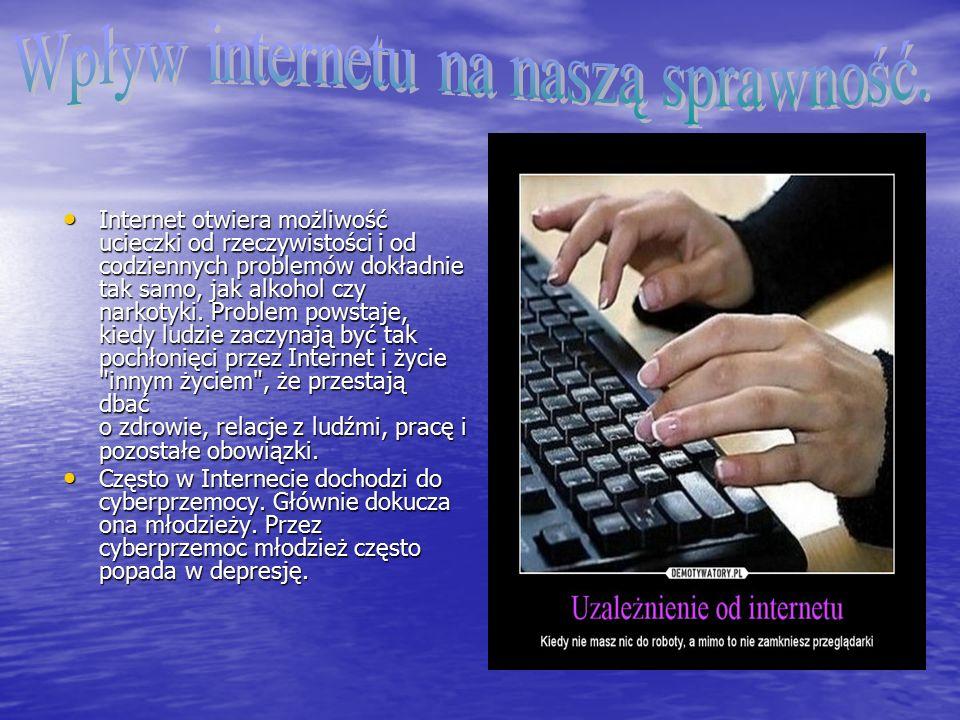 Internet otwiera możliwość ucieczki od rzeczywistości i od codziennych problemów dokładnie tak samo, jak alkohol czy narkotyki.