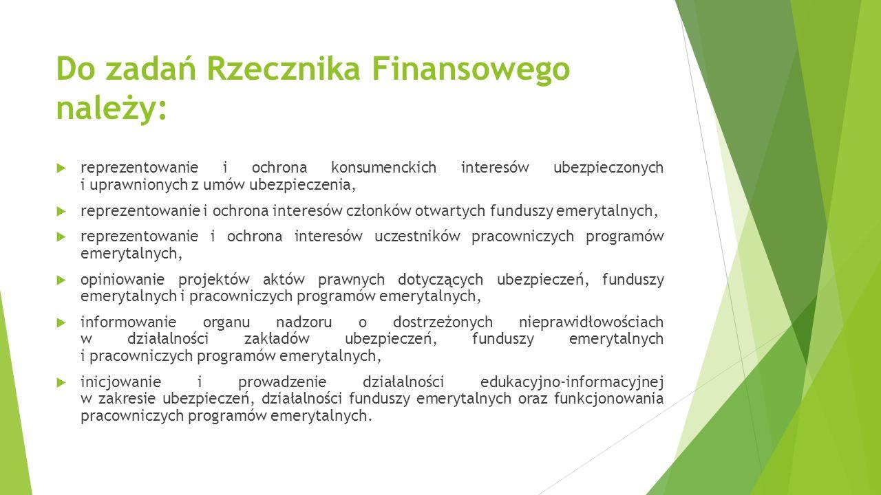 Do zadań Rzecznika Finansowego należy:  reprezentowanie i ochrona konsumenckich interesów ubezpieczonych i uprawnionych z umów ubezpieczenia,  repre