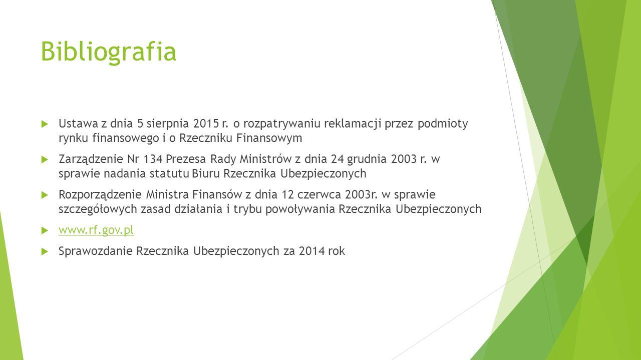 Bibliografia  Ustawa z dnia 5 sierpnia 2015 r. o rozpatrywaniu reklamacji przez podmioty rynku finansowego i o Rzeczniku Finansowym  Zarządzenie Nr