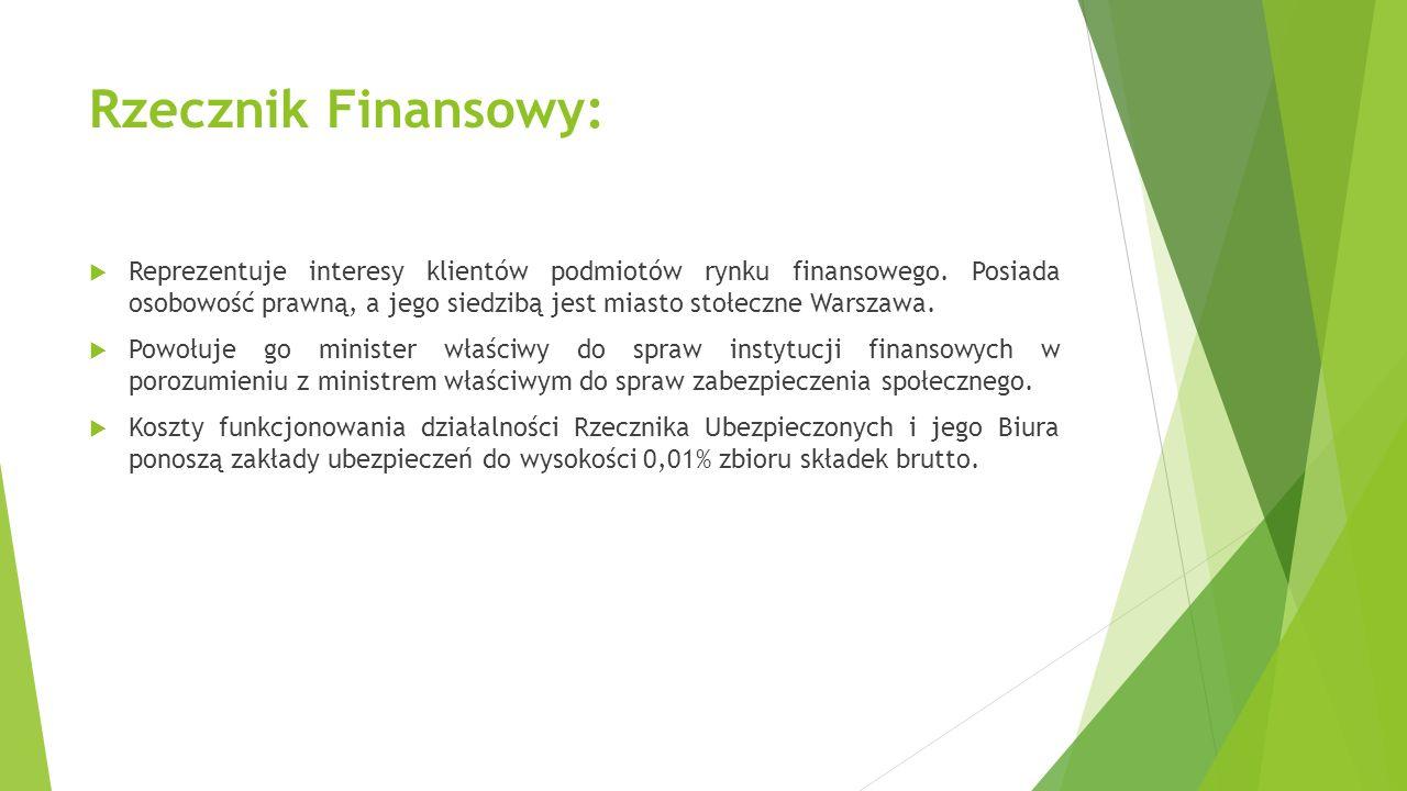 Rzecznik Finansowy:  Reprezentuje interesy klientów podmiotów rynku finansowego. Posiada osobowość prawną, a jego siedzibą jest miasto stołeczne Wars