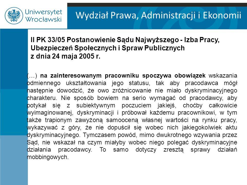 Wydział Prawa, Administracji i Ekonomii II PK 33/05 Postanowienie Sądu Najwyższego - Izba Pracy, Ubezpieczeń Społecznych i Spraw Publicznych z dnia 24 maja 2005 r.