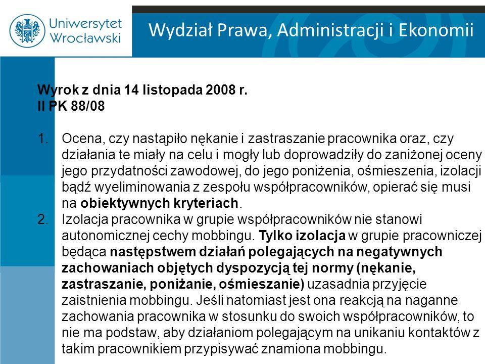 Wydział Prawa, Administracji i Ekonomii Wyrok z dnia 2 października 2009, II PK 105/09 Nierozwiązanie przez pracownika umowy o pracę na podstawie art.