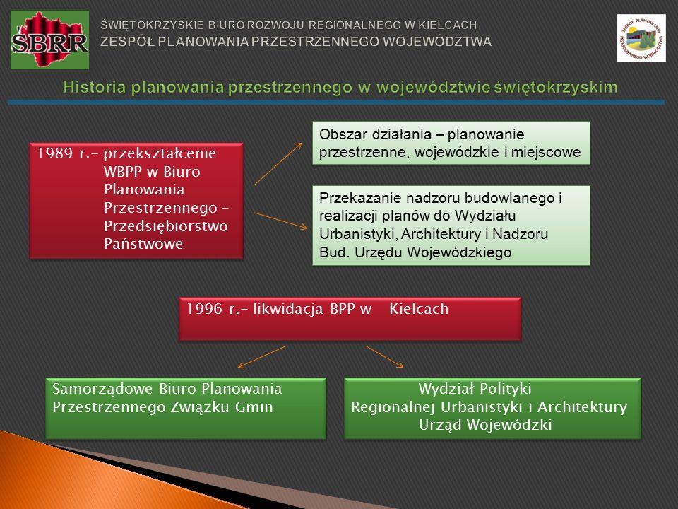 1989 r.- przekształcenie WBPP w Biuro Planowania Przestrzennego – Przedsiębiorstwo Państwowe 1996 r.- likwidacja BPP w Kielcach Obszar działania – planowanie przestrzenne, wojewódzkie i miejscowe Przekazanie nadzoru budowlanego i realizacji planów do Wydziału Urbanistyki, Architektury i Nadzoru Bud.