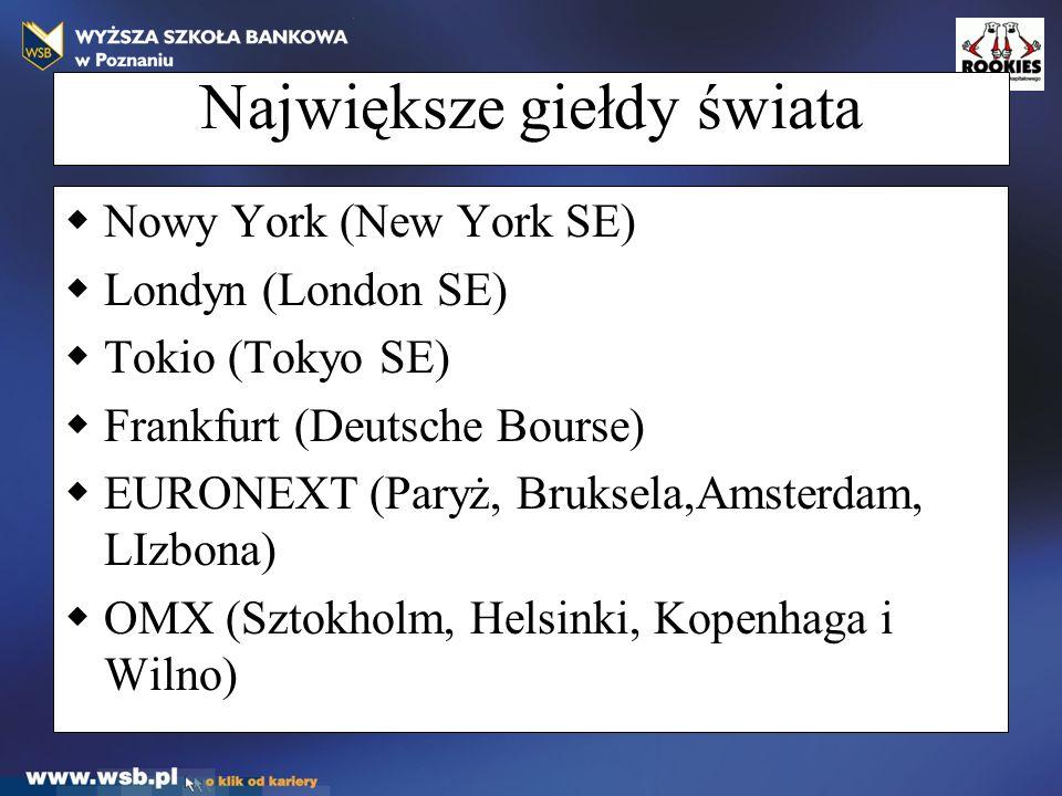 Największe giełdy świata  Nowy York (New York SE)  Londyn (London SE)  Tokio (Tokyo SE)  Frankfurt (Deutsche Bourse)  EURONEXT (Paryż, Bruksela,Amsterdam, LIzbona)  OMX (Sztokholm, Helsinki, Kopenhaga i Wilno)