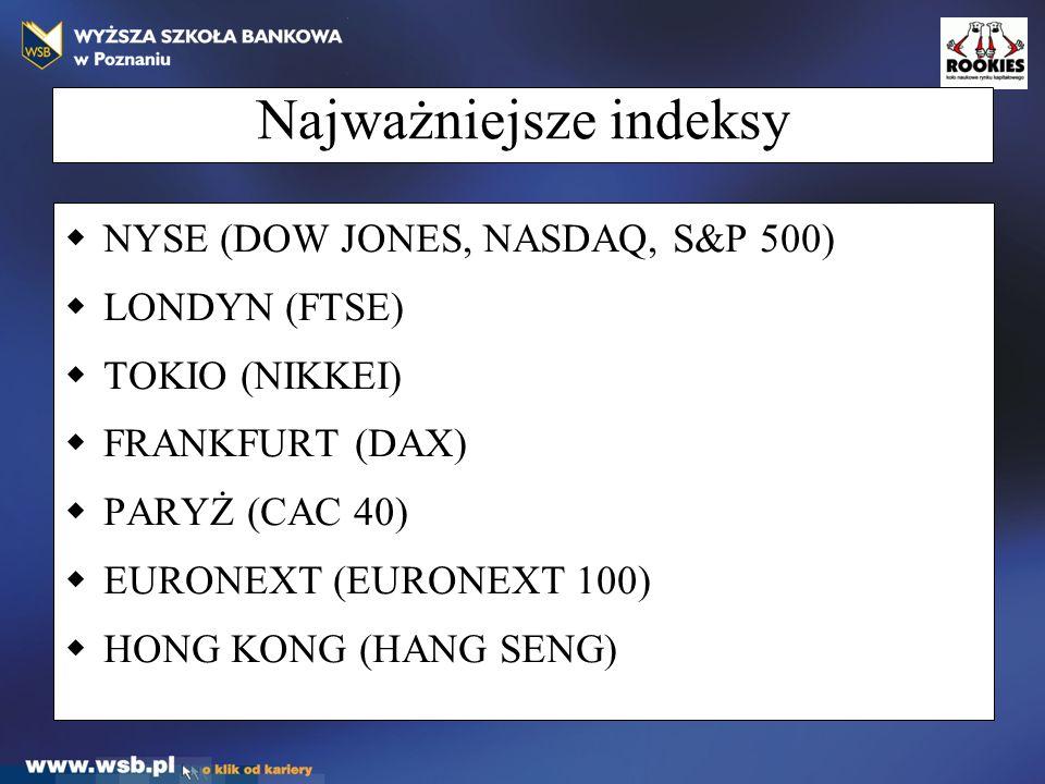 Najważniejsze indeksy  NYSE (DOW JONES, NASDAQ, S&P 500)  LONDYN (FTSE)  TOKIO (NIKKEI)  FRANKFURT (DAX)  PARYŻ (CAC 40)  EURONEXT (EURONEXT 100)  HONG KONG (HANG SENG)