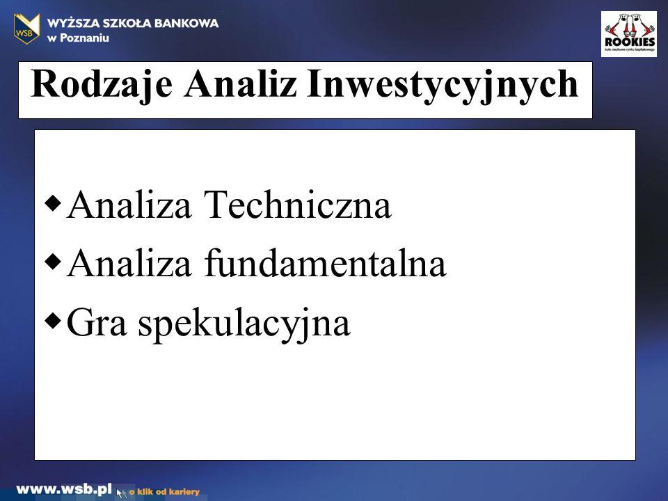 Rodzaje Analiz Inwestycyjnych  Analiza Techniczna  Analiza fundamentalna  Gra spekulacyjna