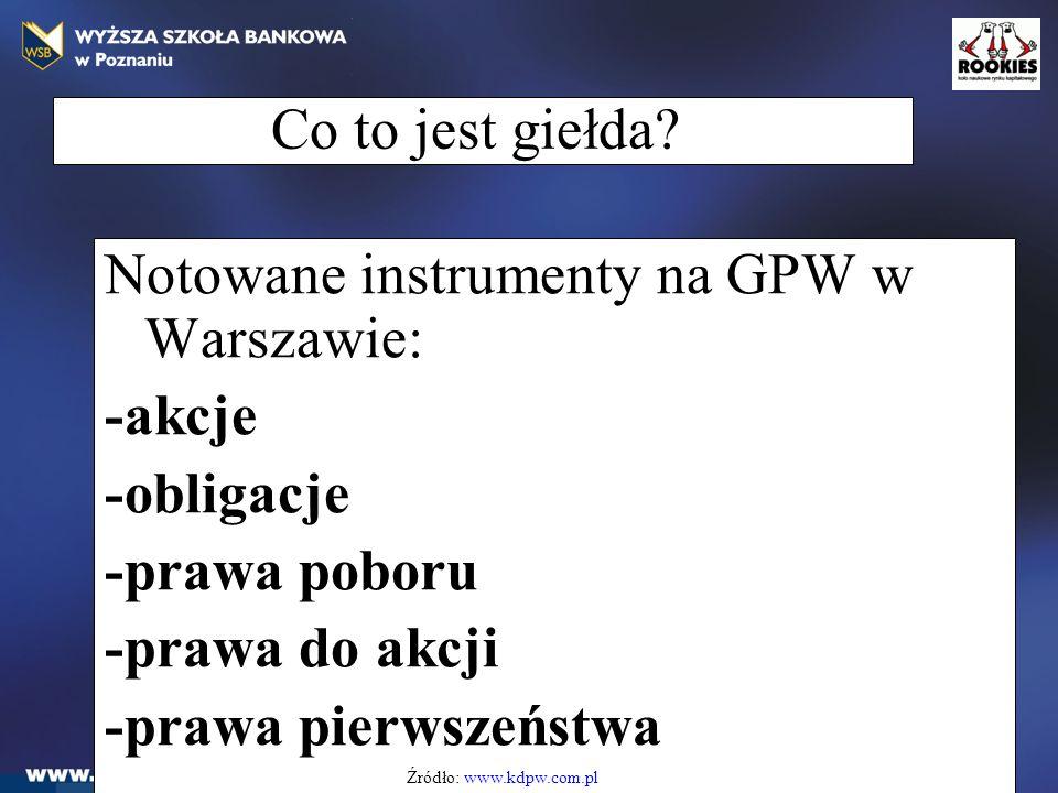 Co to jest giełda? Notowane instrumenty na GPW w Warszawie: -akcje -obligacje -prawa poboru -prawa do akcji -prawa pierwszeństwa Źródło: www.kdpw.com.