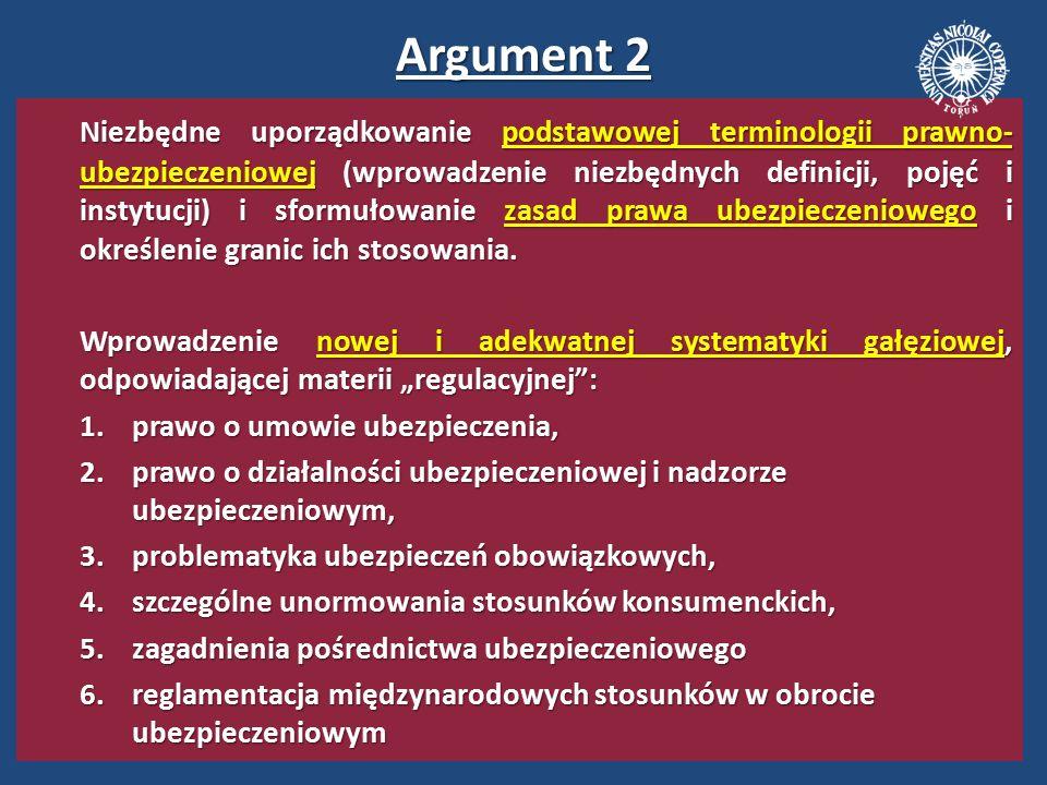 Argument 3 Europeizacja krajowych uregulowań w obszarze ubezpieczeń gospodarczych oraz jej w miarę pełne dostosowanie do prawa wspólnotowego (dyrektyw UE, rozporządzeń Rady oraz konwencji międzynarodowych).