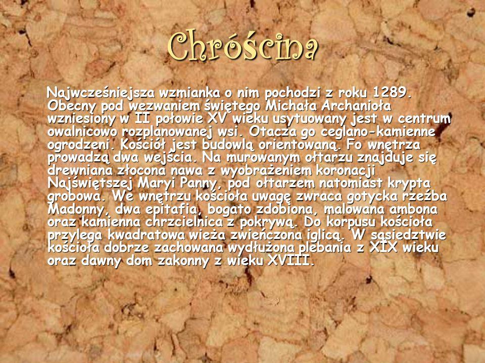 Chró ś cina Najwcześniejsza wzmianka o nim pochodzi z roku 1289.
