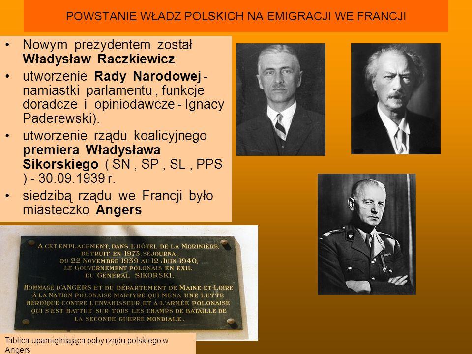 POWSTANIE WŁADZ POLSKICH NA EMIGRACJI WE FRANCJI Nowym prezydentem został Władysław Raczkiewicz utworzenie Rady Narodowej - namiastki parlamentu, funk