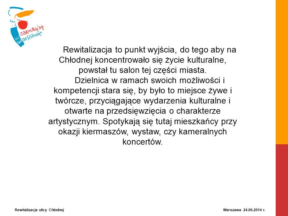 Rewitalizacja ulicy Chłodnej Warszawa 24.06.2014 r. Rewitalizacja to punkt wyjścia, do tego aby na Chłodnej koncentrowało się życie kulturalne, powsta