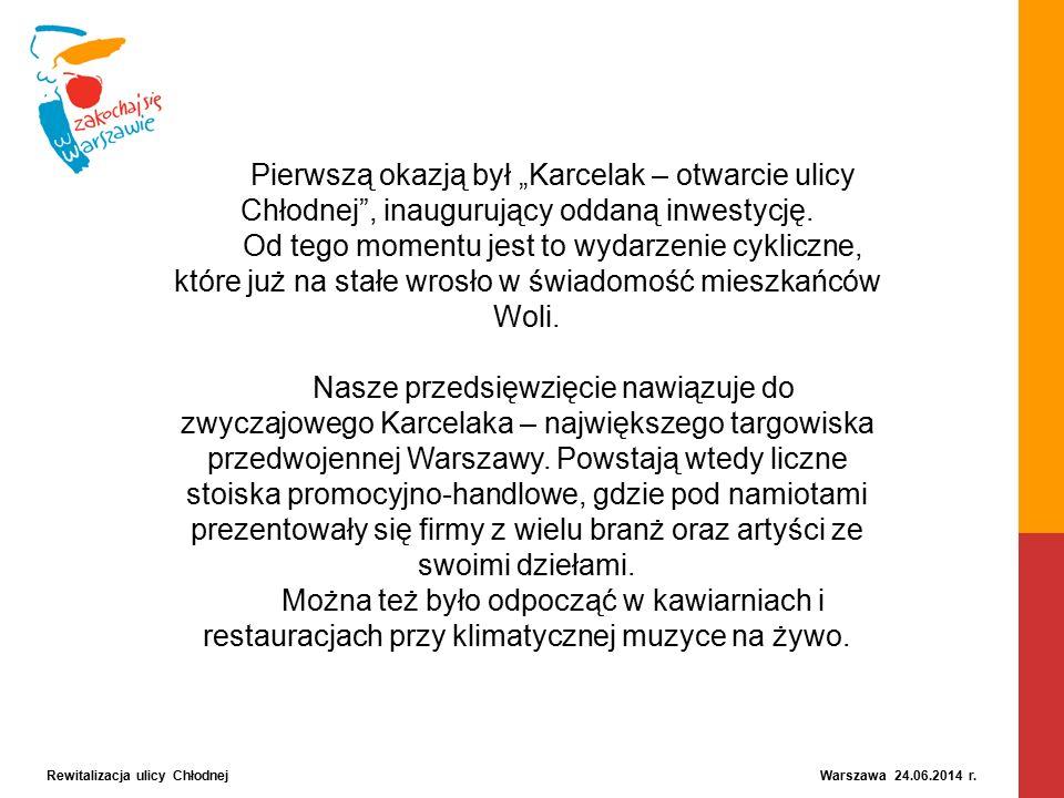 """Rewitalizacja ulicy Chłodnej Warszawa 24.06.2014 r. Pierwszą okazją był """"Karcelak – otwarcie ulicy Chłodnej"""", inaugurujący oddaną inwestycję. Od tego"""