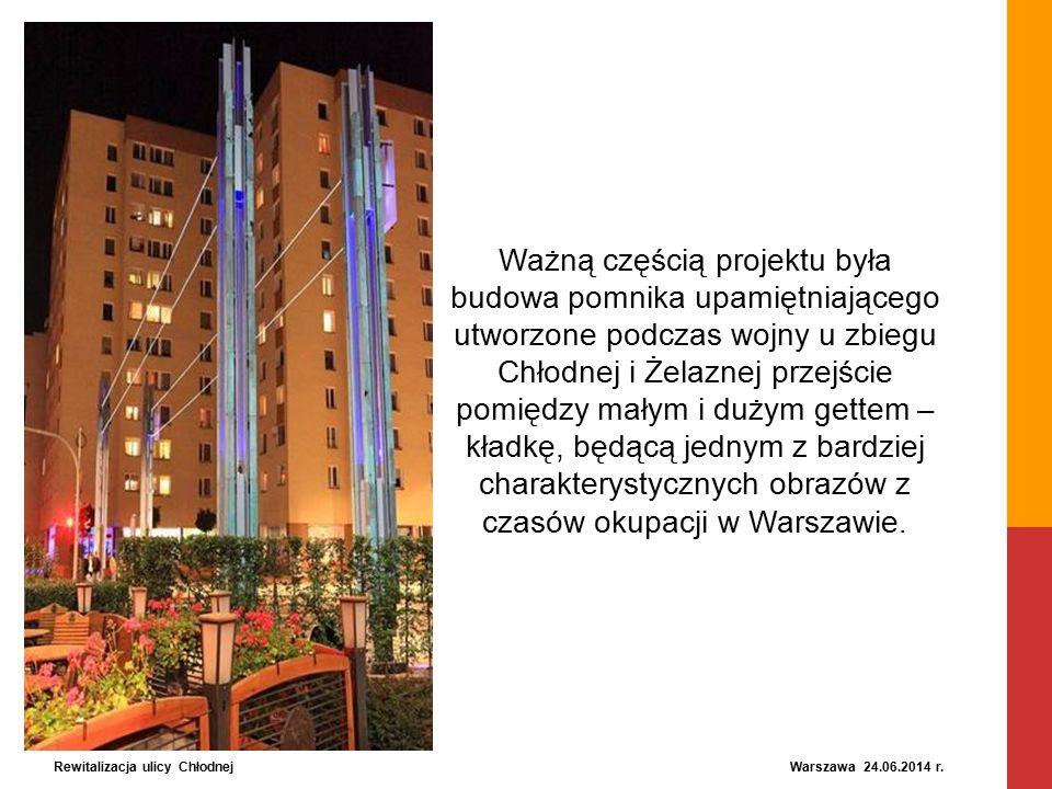 Ważną częścią projektu była budowa pomnika upamiętniającego utworzone podczas wojny u zbiegu Chłodnej i Żelaznej przejście pomiędzy małym i dużym gettem – kładkę, będącą jednym z bardziej charakterystycznych obrazów z czasów okupacji w Warszawie.