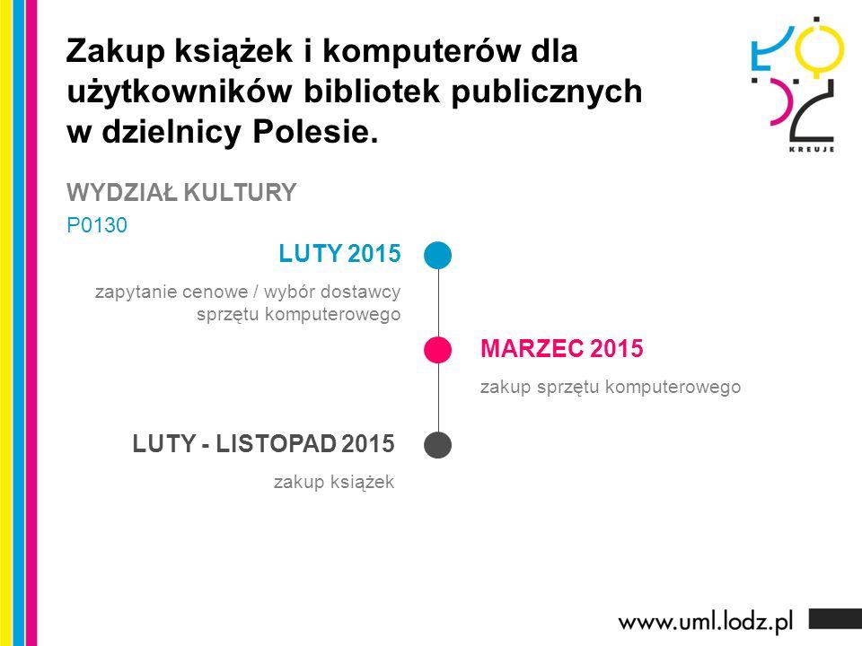 LUTY 2015 zapytanie cenowe / wybór dostawcy sprzętu komputerowego MARZEC 2015 zakup sprzętu komputerowego LUTY - LISTOPAD 2015 zakup książek Zakup książek i komputerów dla użytkowników bibliotek publicznych w dzielnicy Polesie.