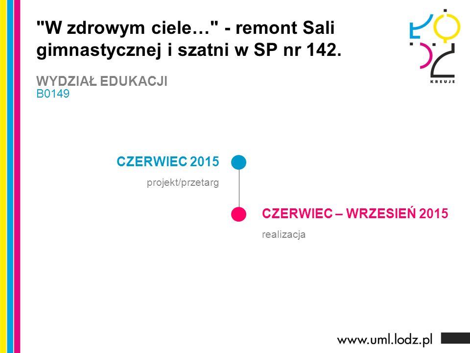 CZERWIEC 2015 projekt/przetarg CZERWIEC – WRZESIEŃ 2015 realizacja W zdrowym ciele… - remont Sali gimnastycznej i szatni w SP nr 142.