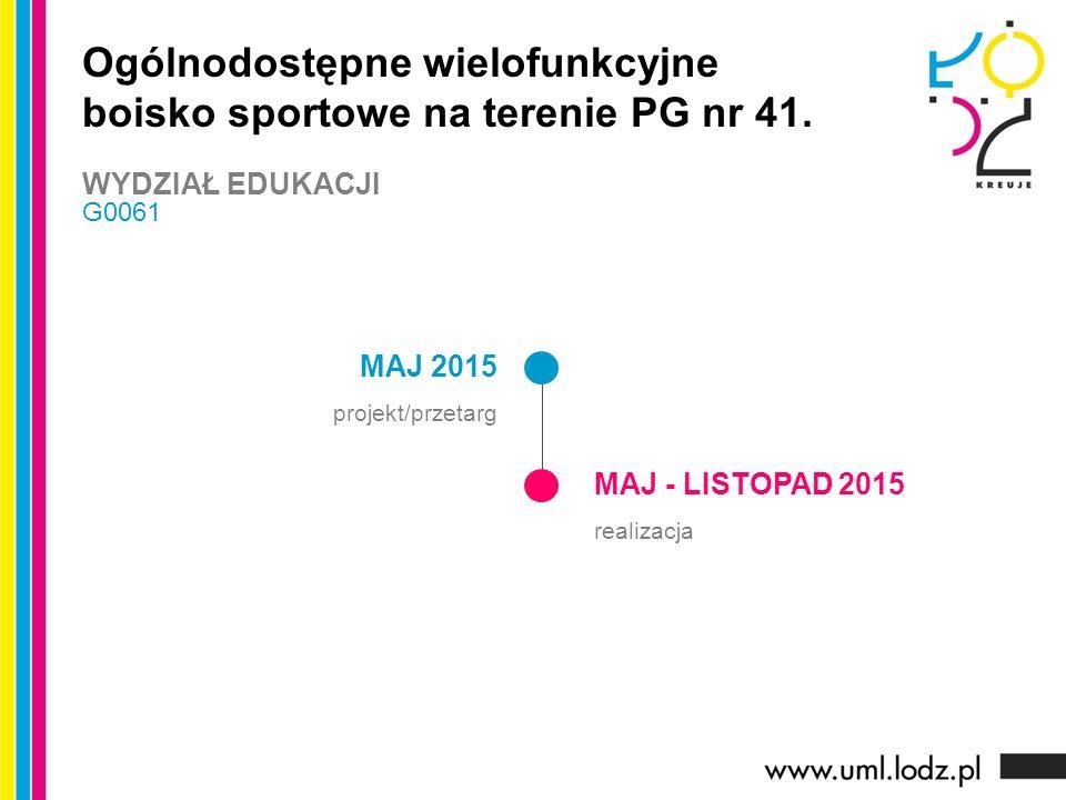 MAJ 2015 projekt/przetarg MAJ - LISTOPAD 2015 realizacja Ogólnodostępne wielofunkcyjne boisko sportowe na terenie PG nr 41.