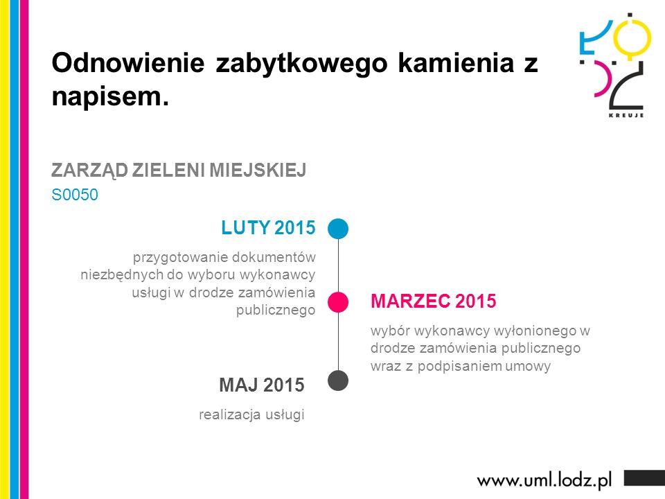 LUTY 2015 przygotowanie dokumentów niezbędnych do wyboru wykonawcy usługi w drodze zamówienia publicznego MARZEC 2015 wybór wykonawcy wyłonionego w drodze zamówienia publicznego wraz z podpisaniem umowy MAJ 2015 realizacja usługi Odnowienie zabytkowego kamienia z napisem.