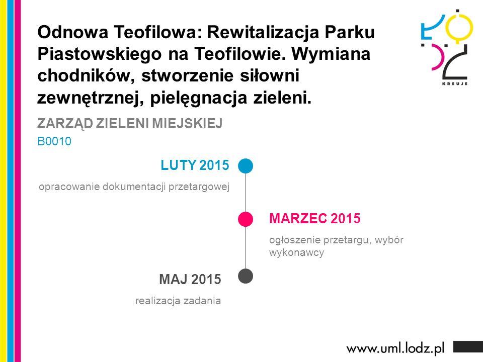 LUTY 2015 opracowanie dokumentacji przetargowej MARZEC 2015 ogłoszenie przetargu, wybór wykonawcy MAJ 2015 realizacja zadania Odnowa Teofilowa: Rewitalizacja Parku Piastowskiego na Teofilowie.