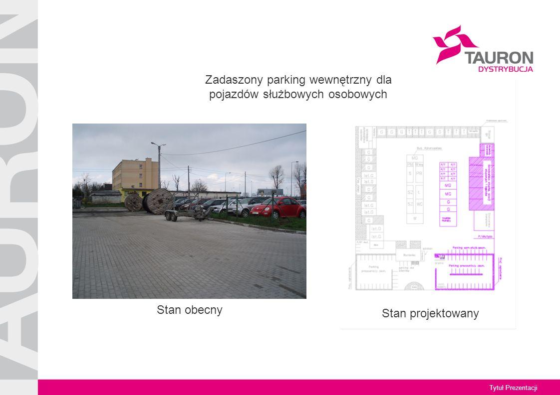 Tytuł Prezentacji Stan obecny Zadaszony parking wewnętrzny dla pojazdów służbowych osobowych Stan projektowany