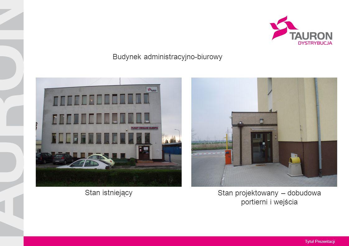 Tytuł Prezentacji Stan projektowany – dobudowa portierni i wejścia Budynek administracyjno-biurowy Stan istniejący