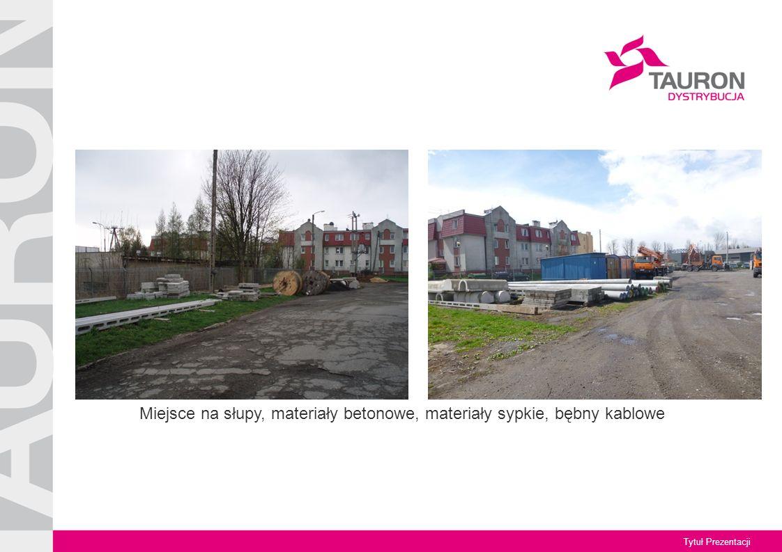 Tytuł Prezentacji Miejsce na słupy, materiały betonowe, materiały sypkie, bębny kablowe