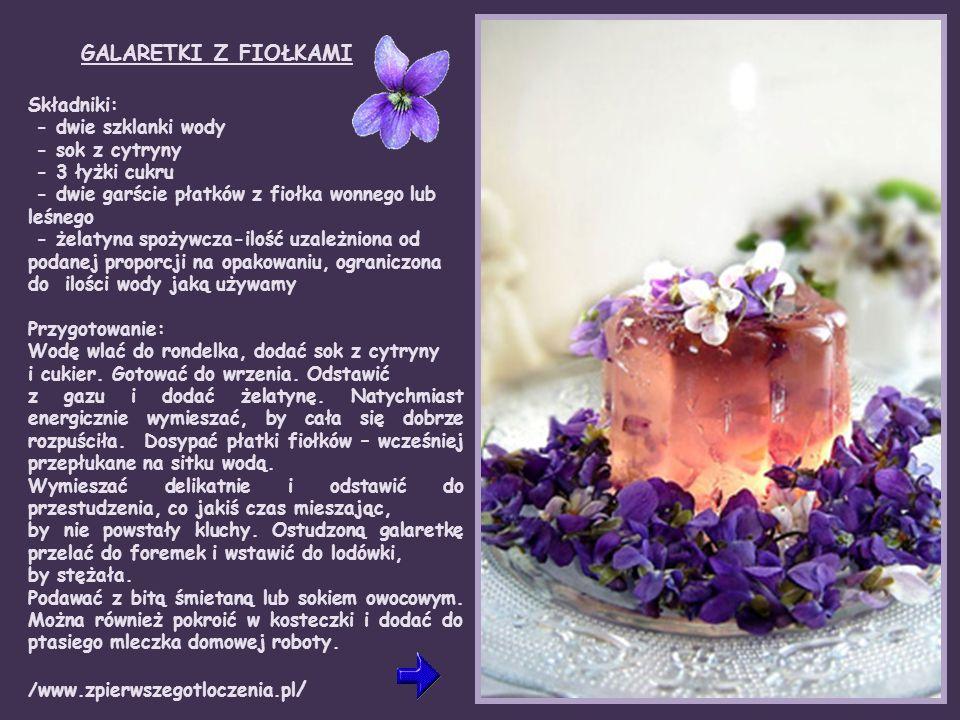 Fiołek (Viola odorata) kwiaty o kolorze ciemnofioletowym i białym o słodkim smaku.
