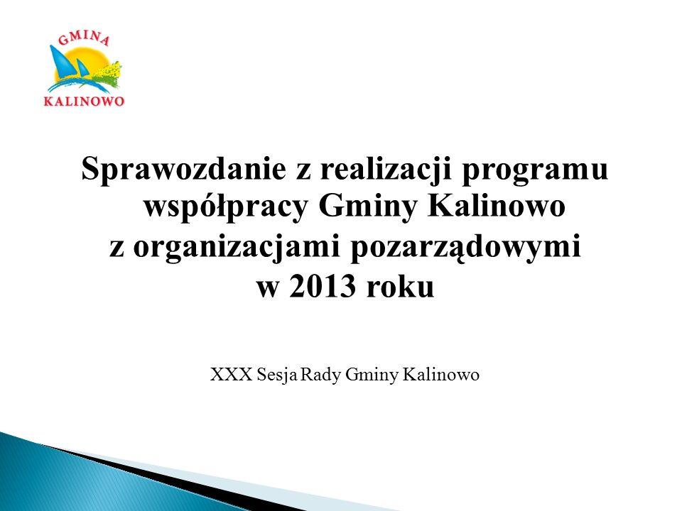 Program Współpracy Gminy Kalinowo z sektorem pozarządowym w zakresie działalności pożytku publicznego w 2013 roku został przyjęty Uchwałą XIX/134/12 Rady Gminy Kalinowo z dnia 04 grudnia 2012 r.