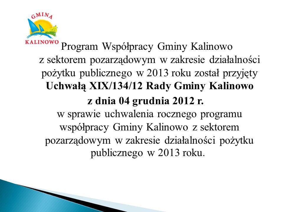 Program Współpracy Gminy Kalinowo z sektorem pozarządowym w zakresie działalności pożytku publicznego w 2013 roku został przyjęty Uchwałą XIX/134/12 R