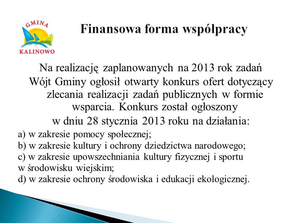Na realizację zaplanowanych na 2013 rok zadań Wójt Gminy ogłosił otwarty konkurs ofert dotyczący zlecania realizacji zadań publicznych w formie wsparc
