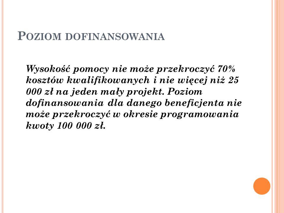 P OZIOM DOFINANSOWANIA Wysokość pomocy nie może przekroczyć 70% kosztów kwalifikowanych i nie więcej niż 25 000 zł na jeden mały projekt.