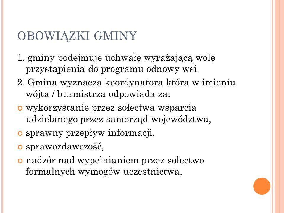 OBOWIĄZKI GMINY 1. gminy podejmuje uchwałę wyrażającą wolę przystąpienia do programu odnowy wsi 2.
