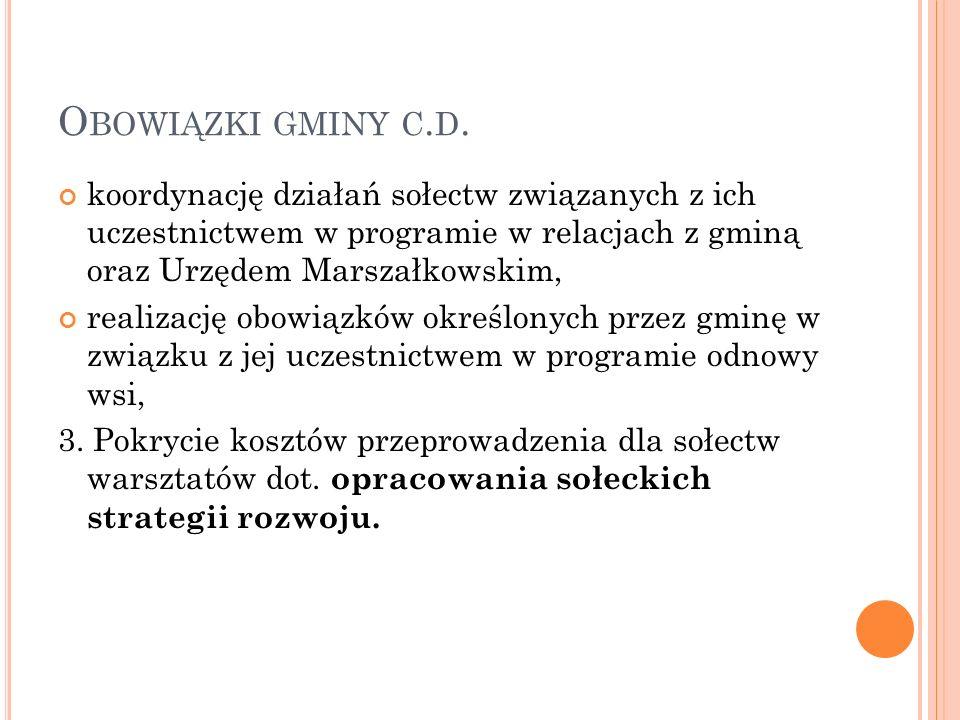 O BOWIĄZKI GMINY C. D.