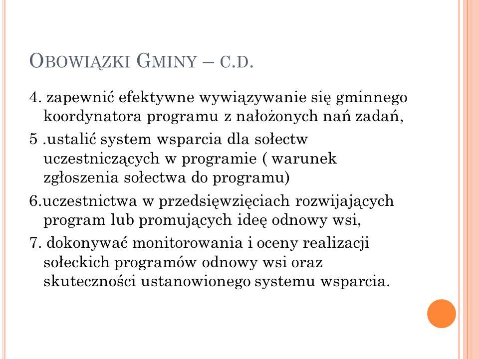 O BOWIĄZKI G MINY – C. D. 4.