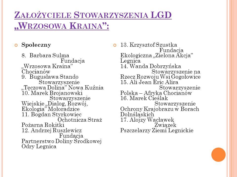 """Z AŁOŻYCIELE S TOWARZYSZENIA LGD """"W RZOSOWA K RAINA : Społeczny 8."""