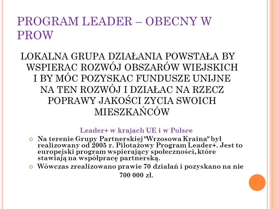 PROGRAM LEADER – OBECNY W PROW LOKALNA GRUPA DZIAŁANIA POWSTAŁA BY WSPIERAC ROZWÓJ OBSZARÓW WIEJSKICH I BY MÓC POZYSKAC FUNDUSZE UNIJNE NA TEN ROZWÓJ I DZIAŁAC NA RZECZ POPRAWY JAKOŚCI ZYCIA SWOICH MIESZKAŃCÓW Leader+ w krajach UE i w Polsce Na terenie Grupy Partnerskiej Wrzosowa Kraina był realizowany od 2005 r.