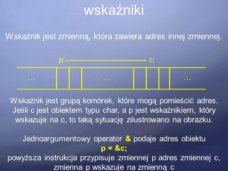 wskaźniki Wskaźnik jest zmienną, która zawiera adres innej zmiennej.