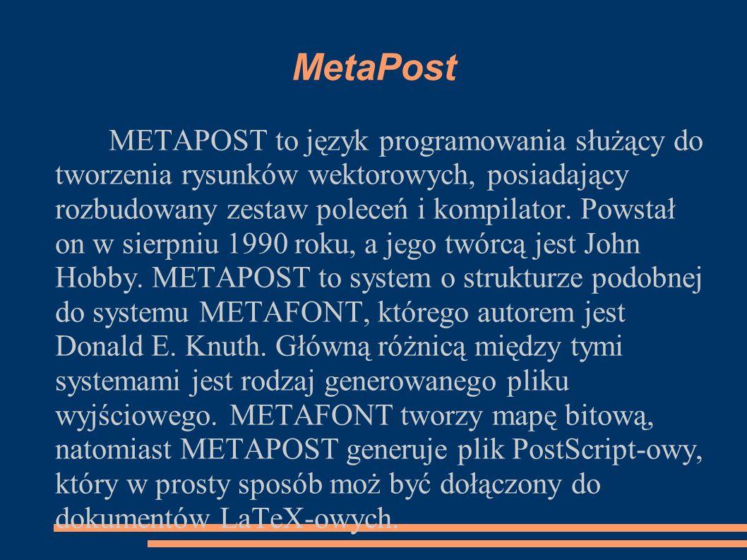 MetaPost METAPOST to język programowania służący do tworzenia rysunków wektorowych, posiadający rozbudowany zestaw poleceń i kompilator. Powstał on w