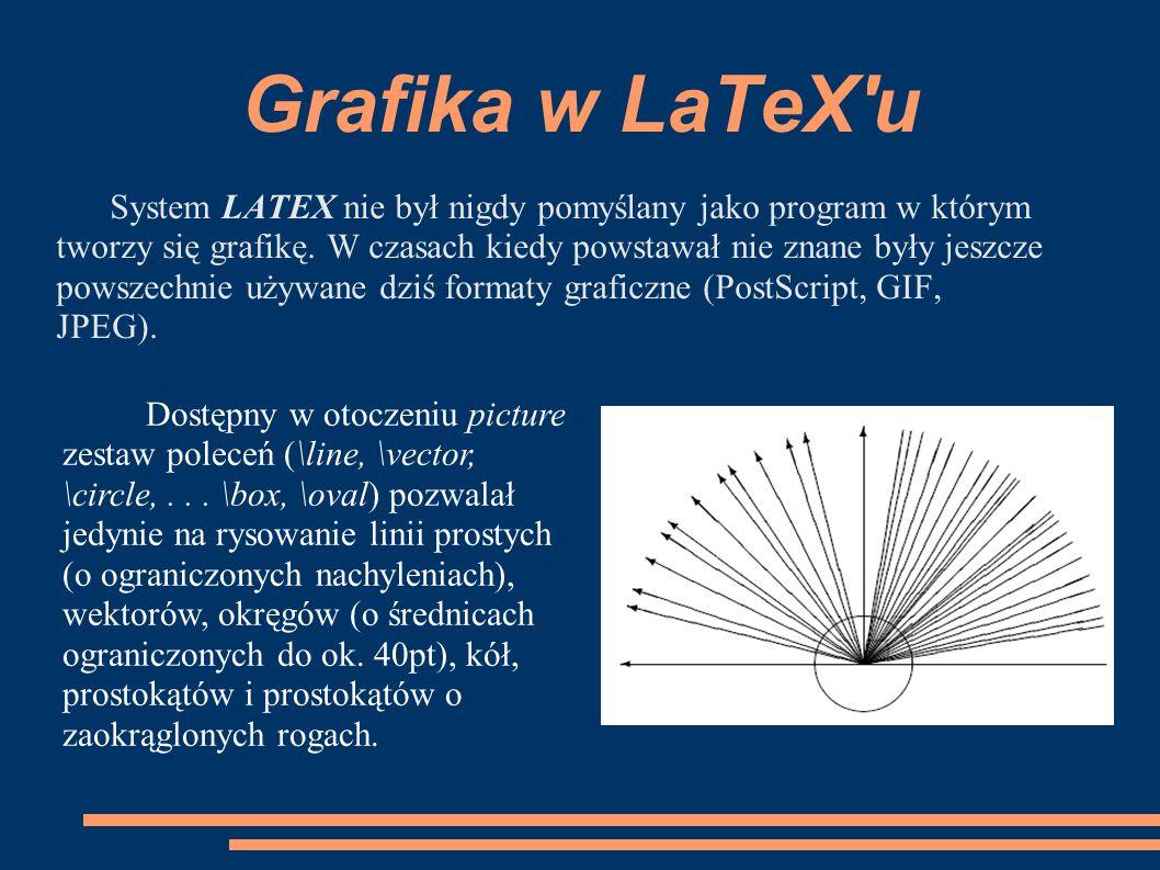 Grafika w LaTeX'u System LATEX nie był nigdy pomyślany jako program w którym tworzy się grafikę. W czasach kiedy powstawał nie znane były jeszcze pows