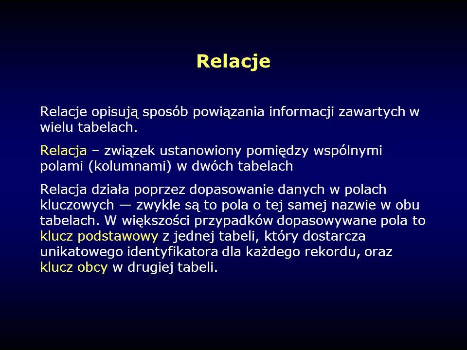 Relacje Relacje opisują sposób powiązania informacji zawartych w wielu tabelach.