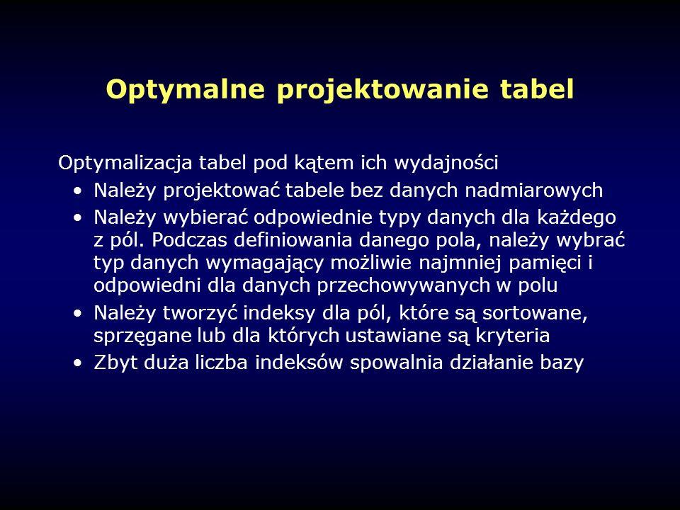 Optymalne projektowanie tabel Optymalizacja tabel pod kątem ich wydajności Należy projektować tabele bez danych nadmiarowych Należy wybierać odpowiednie typy danych dla każdego z pól.