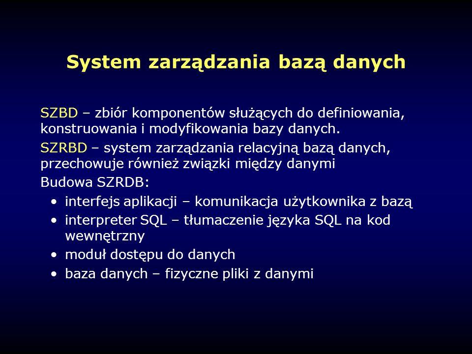 System zarządzania bazą danych SZBD – zbiór komponentów służących do definiowania, konstruowania i modyfikowania bazy danych.