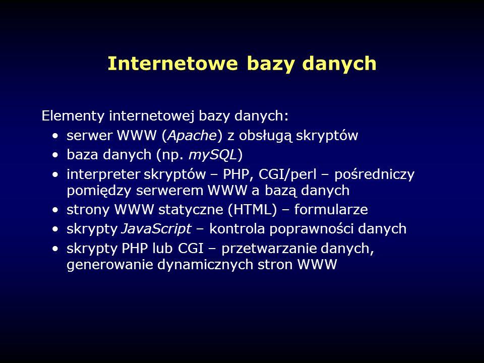 Internetowe bazy danych Elementy internetowej bazy danych: serwer WWW (Apache) z obsługą skryptów baza danych (np.