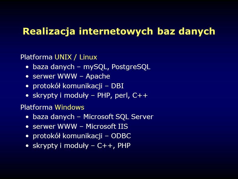 Realizacja internetowych baz danych Platforma UNIX / Linux baza danych – mySQL, PostgreSQL serwer WWW – Apache protokół komunikacji – DBI skrypty i moduły – PHP, perl, C++ Platforma Windows baza danych – Microsoft SQL Server serwer WWW – Microsoft IIS protokół komunikacji – ODBC skrypty i moduły – C++, PHP