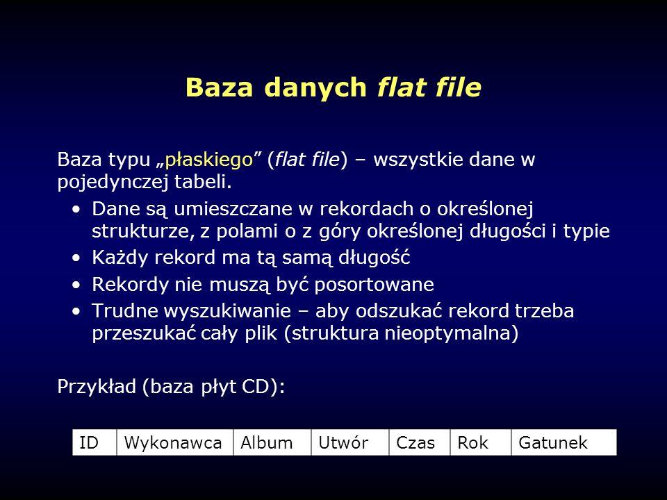 """Baza danych flat file Baza typu """"płaskiego (flat file) – wszystkie dane w pojedynczej tabeli."""