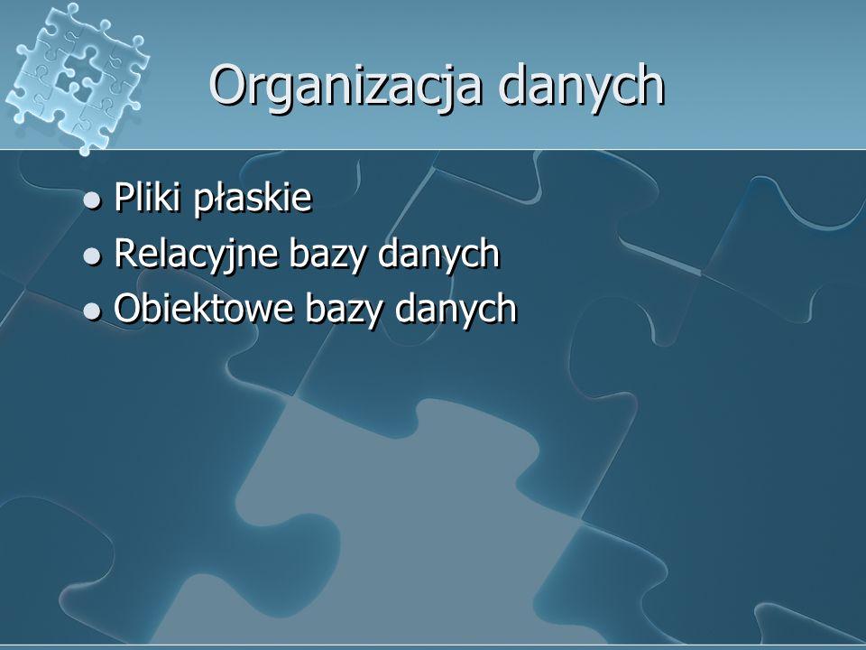Organizacja danych Pliki płaskie Relacyjne bazy danych Obiektowe bazy danych Pliki płaskie Relacyjne bazy danych Obiektowe bazy danych