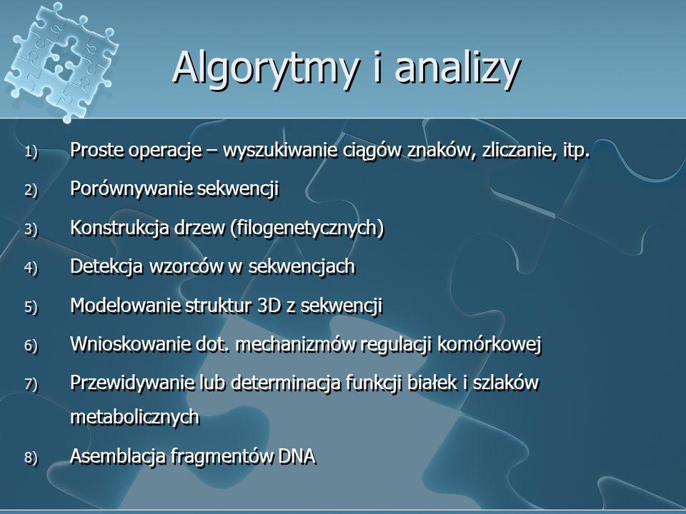 Algorytmy i analizy 1) Proste operacje – wyszukiwanie ciągów znaków, zliczanie, itp. 2) Porównywanie sekwencji 3) Konstrukcja drzew (filogenetycznych)
