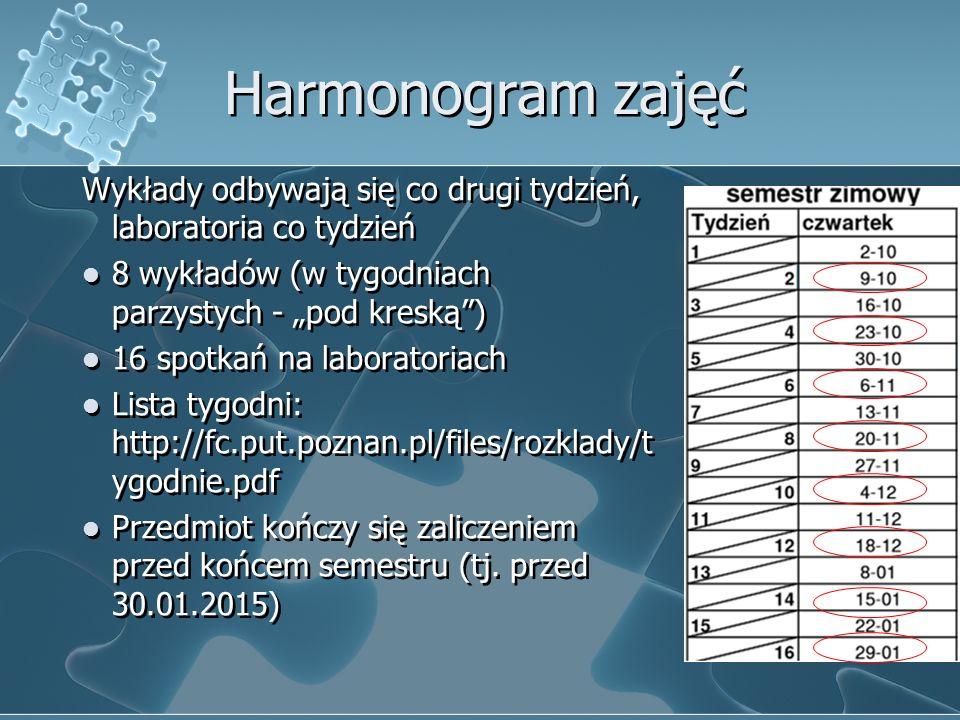 """Harmonogram zajęć Wykłady odbywają się co drugi tydzień, laboratoria co tydzień 8 wykładów (w tygodniach parzystych - """"pod kreską"""") 16 spotkań na labo"""